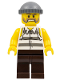 Minifig No: cty0266  Name: Police - Jail Prisoner Shirt with Prison Stripes and Torn out Sleeves, Dark Brown Legs, Dark Bluish Gray Knit Cap