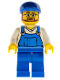 Minifig No: cty0268  Name: Overalls Blue over V-Neck Shirt, Blue Legs, Blue Short Bill Cap, Beard and Glasses