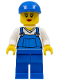 Minifig No: cty0269  Name: Overalls Blue over V-Neck Shirt, Blue Legs, Blue Short Bill Cap, Eyelashes and Smile
