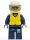 Minifig No: cty0274  Name: Forest Police - Helicopter Pilot, Dark Blue Flight Suit with Badge, Helmet, Life Jacket Center Buckle, Black and Silver Sunglasses