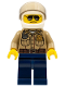 Minifig No: cty0276  Name: Forest Police - Dark Tan Shirt with Pockets, Radio and Gold Badge, Dark Blue Legs, White Helmet with Visor, Black and Silver Sunglasses