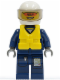 Minifig No: cty0277  Name: Forest Police - Helicopter Pilot, Dark Blue Flight Suit with Badge, Helmet, Life Jacket Center Buckle, Orange Sunglasses