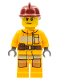 Minifig No: cty0279  Name: Fire - Bright Light Orange Fire Suit with Utility Belt, Dark Red Fire Helmet, Sweat Drops