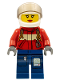 Minifig No: cty0280  Name: Fire - Pilot Female, Red Fire Suit with Carabiner, Dark Blue Legs with Map, White Helmet, Red Lips