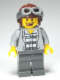 Minifig No: cty0282  Name: Police - Jail Prisoner Jacket over Prison Stripes, Dark Bluish Gray Legs, Aviator Cap and Goggles, Missing Tooth