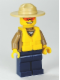 Minifig No: cty0284  Name: Forest Police - Dark Tan Shirt with Pockets, Radio and Gold Badge, Dark Blue Legs, Campaign Hat, Orange Sunglasses, Life Jacket Center Buckle