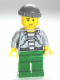 Minifig No: cty0288  Name: Police - Jail Prisoner 60675 Hoodie over Prison Stripes, Green Legs, Dark Bluish Gray Knit Cap