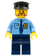 Minifig No: cty0289  Name: Police - City Shirt with Dark Blue Tie and Gold Badge, Dark Blue Legs, Black Hat