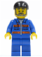 Minifig No: cty0290  Name: Blue Jacket with Pockets and Orange Stripes, Blue Legs, Black Short Bill Cap, Gray Beard
