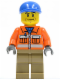 Minifig No: cty0293  Name: Construction Worker - Orange Zipper, Safety Stripes, Orange Arms, Dark Tan Legs, Blue Short Bill Cap