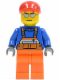 Minifig No: cty0294  Name: Overalls with Safety Stripe Orange, Orange Legs, Red Short Bill Cap, Silver Sunglasses