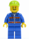 Minifig No: cty0295  Name: Blue Jacket with Pockets and Orange Stripes, Blue Legs, Lime Short Bill Cap, Open Grin