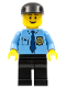 Minifig No: cty0298  Name: Police - City Shirt with Dark Blue Tie and Gold Badge, Black Legs, Black Cap