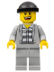 Minifig No: cty0299  Name: Police - Jail Prisoner Jacket over Prison Stripes, Light Bluish Gray Legs, Black Knit Cap, Missing Tooth