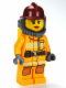 Minifig No: cty0304  Name: Fire - Bright Light Orange Fire Suit with Utility Belt, Dark Red Fire Helmet, Yellow Airtanks, Red Lips