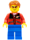 Minifig No: cty0308  Name: Red Jacket with Zipper Pockets and Classic Space Logo, Blue Legs, Dark Orange Short Tousled Hair, Orange Sunglasses