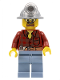Minifig No: cty0309  Name: Flannel Shirt with Pocket and Belt, Sand Blue Legs, Mining Helmet, Safety Goggles