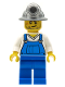 Minifig No: cty0310  Name: Miner - Overalls Blue over V-Neck Shirt, Blue Legs, Mining Helmet, Crooked Smile and Scar
