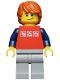 Minifig No: cty0312  Name: Red Shirt with 3 Silver Logos, Dark Blue Arms, Light Bluish-Gray Legs, Dark Orange Hair