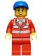 Minifig No: cty0317  Name: Paramedic - Red Uniform, Female, Blue Short Bill Cap