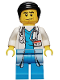 Minifig No: cty0319  Name: Doctor - Long Lab Coat over Dark Azure Shirt, Stethoscope, Black Smooth Hair