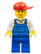 Minifig No: cty0321  Name: Overalls Blue over V-Neck Shirt, Blue Legs, Red Short Bill Cap, Open Mouth Smile