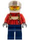 Minifig No: cty0323  Name: Fire - Pilot Male, Red Fire Suit with Carabiner, Dark Blue Legs, White Helmet, Orange Sunglasses