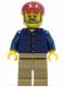 Minifig No: cty0325  Name: Plaid Button Shirt, Dark Tan Legs, Dark Red Short Bill Cap