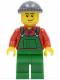 Minifig No: cty0326  Name: Overalls Farmer Green, Dark Bluish Gray Knit Cap