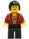 Minifig No: cty0327  Name: Female Corset with Gold Panel Front and Lace Up Back Pattern, Black Legs, Black Bob Cut Hair