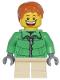 Minifig No: cty0328  Name: Winter Jacket Zipper, Tan Short Legs, Dark Orange Short Tousled Hair