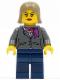 Minifig No: cty0329  Name: Dark Bluish Gray Jacket with Magenta Scarf, Dark Blue Legs, Dark Tan Female Hair