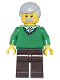 Minifig No: cty0330  Name: Green V-Neck Sweater, Dark Brown Legs, Light Bluish Gray Male Hair
