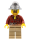 Minifig No: cty0334  Name: Flannel Shirt with Pocket and Belt, Dark Tan Legs, Mining Helmet, Safety Goggles