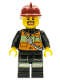 Minifig No: cty0342  Name: Fire - Reflective Stripe Vest with Pockets and Shoulder Strap, Dark Red Fire Helmet