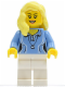 Minifig No: cty0346  Name: Medium Blue Female Shirt with Two Buttons and Shell Pendant, White Legs, Bright Light Yellow Female Hair over Shoulder