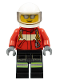 Minifig No: cty0349  Name: Fire - Pilot Male, Red Fire Suit with Carabiner, Reflective Stripes on Black Legs, White Helmet, Silver Sunglasses