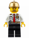 Minifig No: cty0350  Name: Fire Chief - White Shirt with Tie and Belt, Black Legs, Gold Fire Helmet