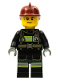 Minifig No: cty0351  Name: Fire - Reflective Stripes with Utility Belt, Dark Red Fire Helmet, Sweat Drops