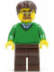Minifig No: cty0352  Name: Green V-Neck Sweater, Dark Brown Legs, Dark Brown Short Tousled Hair, Safety Goggles