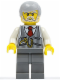 Minifig No: cty0353  Name: Pinstripe Vest, Red Tie and Pocket Watch, Dark Bluish Gray Legs, Light Bluish Gray Male Hair