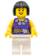 Minifig No: cty0354  Name: Female Dark Purple Blouse with Gold Sash and Flowers, White Legs, Black Bob Cut Hair