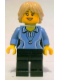 Minifig No: cty0355  Name: Medium Blue Female Shirt with Two Buttons and Shell Pendant, Black Legs, Tan Tousled and Layered Hair