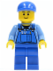 Minifig No: cty0367  Name: Overalls with Tools in Pocket Blue, Blue Short Bill Cap, Thin Grin