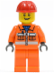 Minifig No: cty0368  Name: Construction Worker - Orange Zipper, Safety Stripes, Orange Arms, Orange Legs, Red Construction Helmet, Open Grin