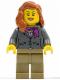 Minifig No: cty0370  Name: Dark Bluish Gray Jacket with Magenta Scarf, Dark Tan Legs, Dark Orange Female Hair over Shoulder