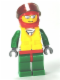 Minifig No: cty0373  Name: Octan - Jacket with Red and Green Stripe, Red Hips and Green Legs, Red Helmet, Trans-Black Visor, Silver Sunglasses, Life Jacket Center Buckle