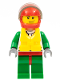 Minifig No: cty0374  Name: Octan - Jacket with Red and Green Stripe, Red Hips and Green Legs, Red Helmet, Trans-Black Visor, Smirk and Stubble Beard, Life Jacket Center Buckle