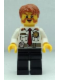 Minifig No: cty0380  Name: Fire Chief - White Shirt with Tie and Belt, Black Legs, Dark Orange Short Tousled Hair
