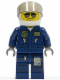 Minifig No: cty0383  Name: Forest Police - Helicopter Pilot, Dark Blue Flight Suit with Badge, Helmet, Black and Silver Sunglasses, NO Eyebrows